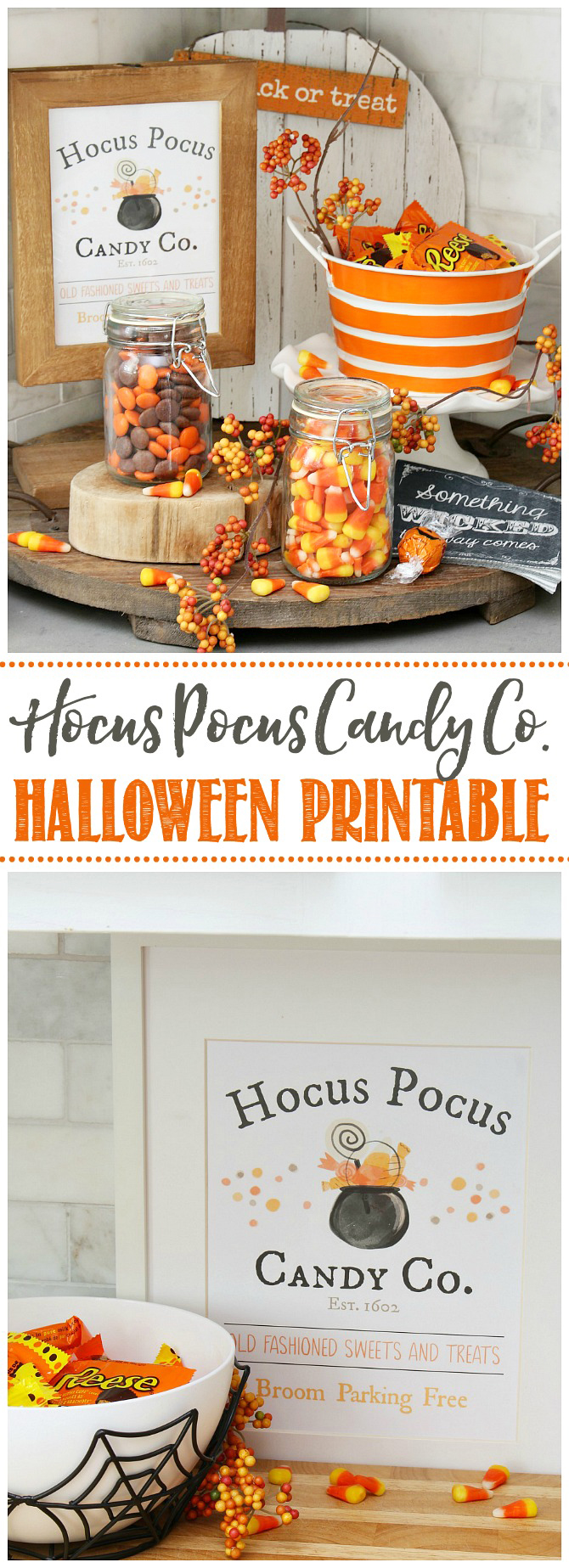 Hocus Pocus Candy Co. free Halloween printable displayed in a frame and used in a fun Halloween candy bar.