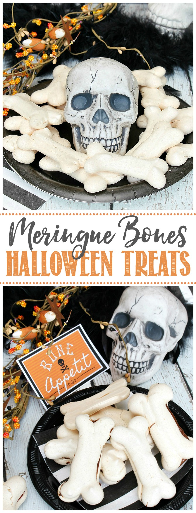 Halloween treat bones made from meringue displayed on a plate with a skull for decor.