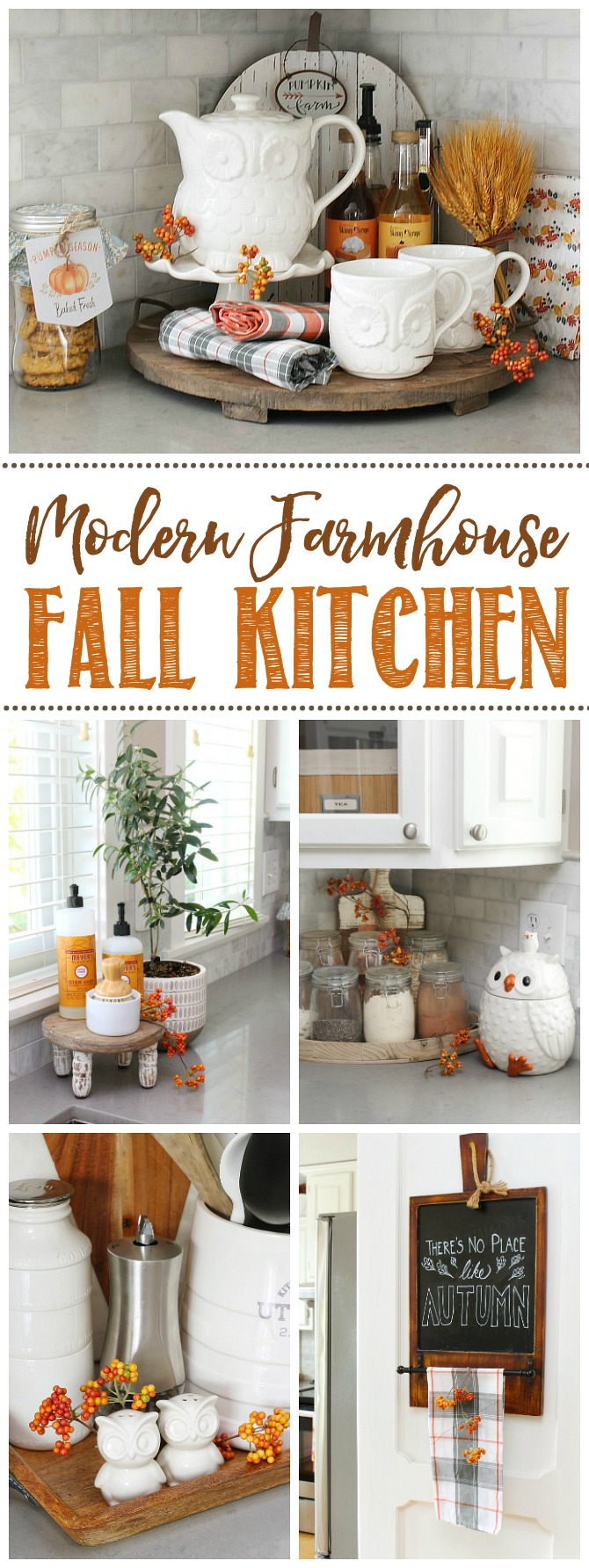 Collection of pretty fall kitchen decor ideas using orange.
