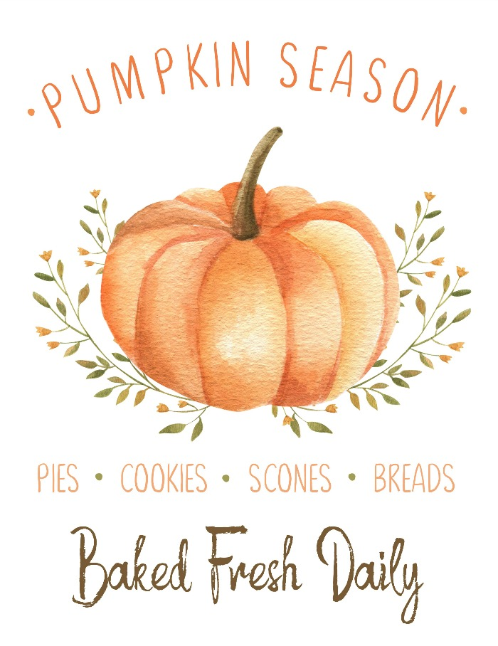 Pumpkin season free fall printable in muted fall colors.