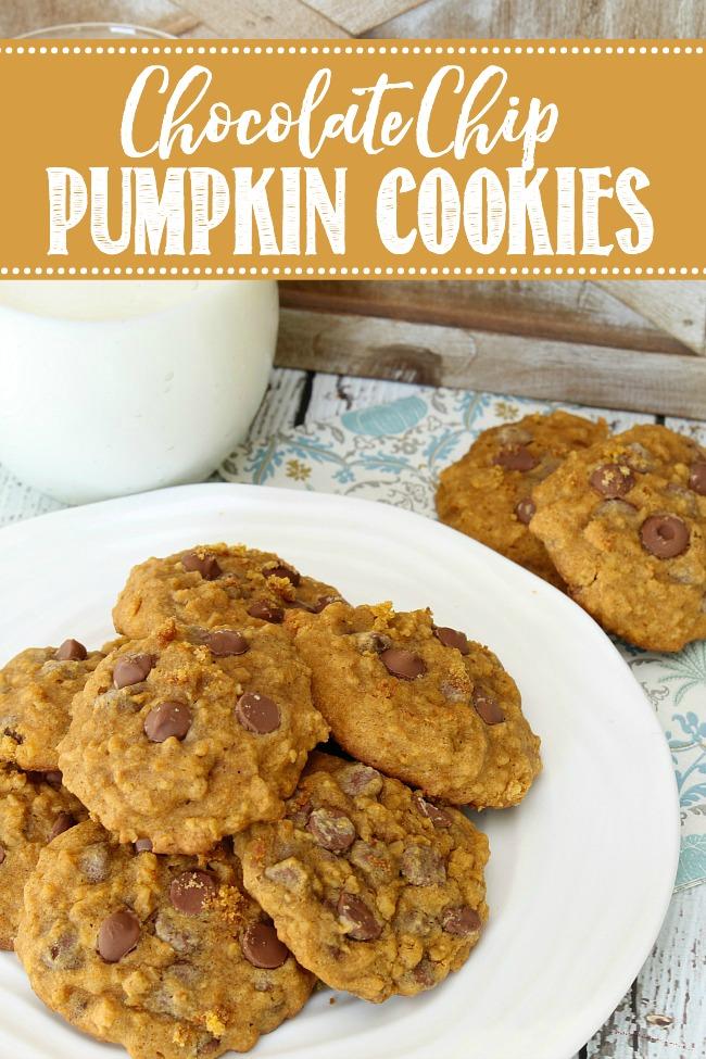 Plate of pumpkin chocolate chip cookies.