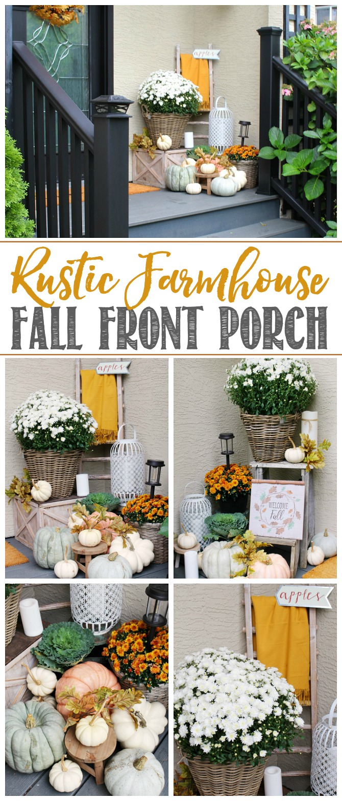 Simple ideas to add a rustic farmhouse feel to your fall front porch using beautiful fall colors, mums, and pumpkins.