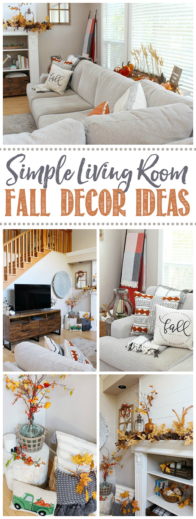 Beautiful and simple ideas to decorate your living room for fall.