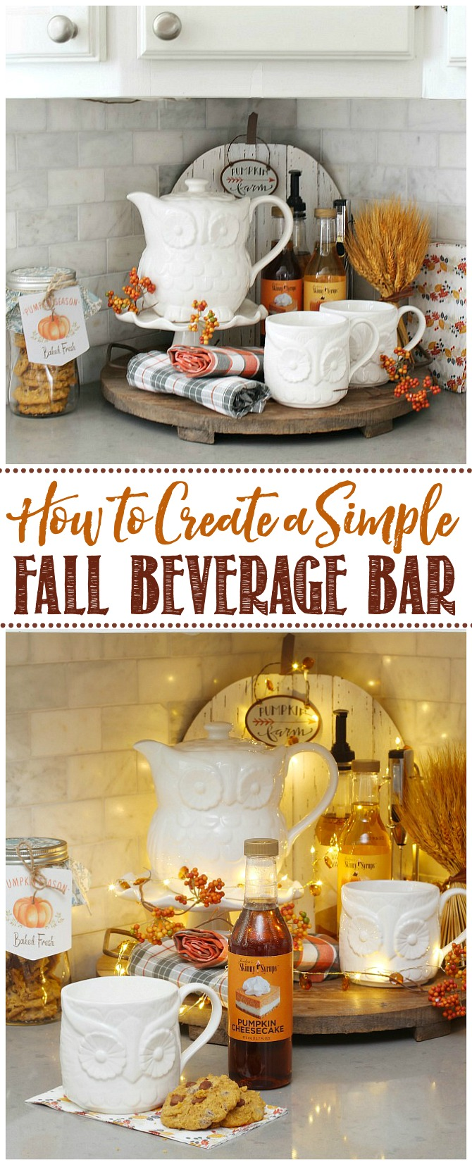 Cute fall beverage bar with owl tea set and fall flavored syrups.