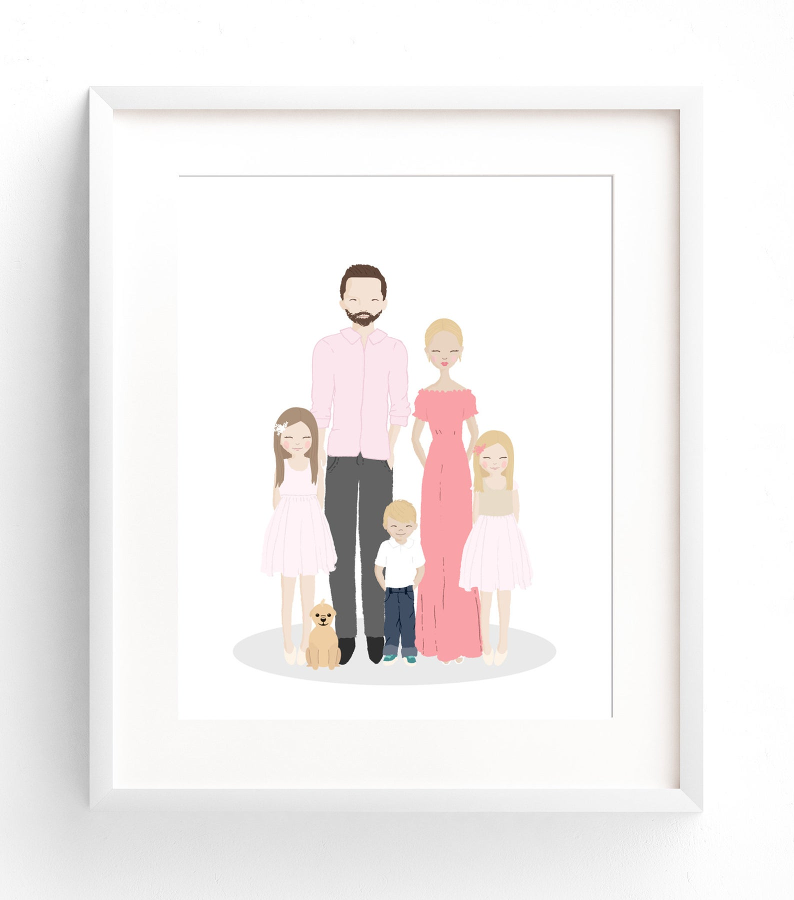 Custom illustrated family portrait for a personalized Christmas gift.