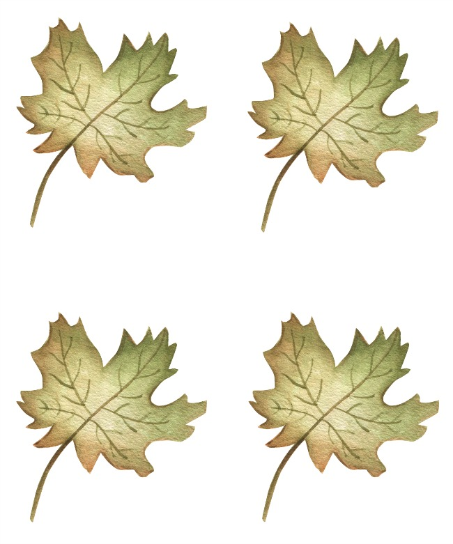 Leaf printable to use as name tags for Thanksgiving tablescape.