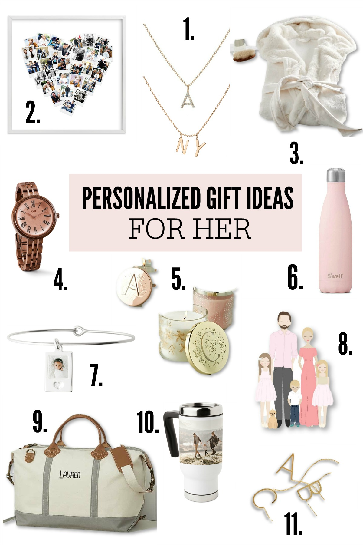 Collection of personalized gift ideas for her.
