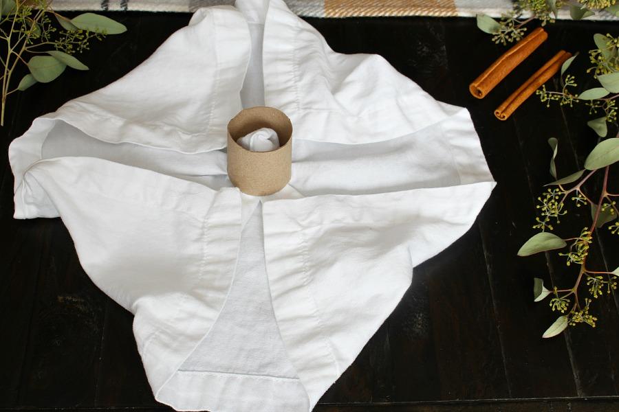 Pumpkin napkin folding tutorial step 2.