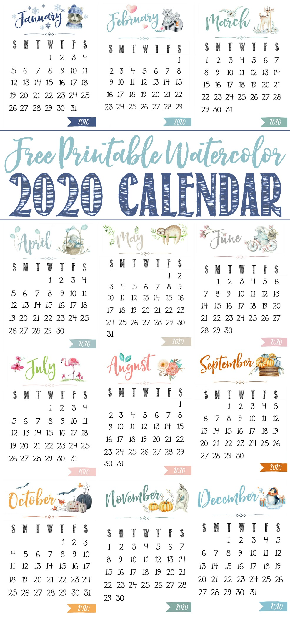 2020 free printable calendar with cute watercolor design.
