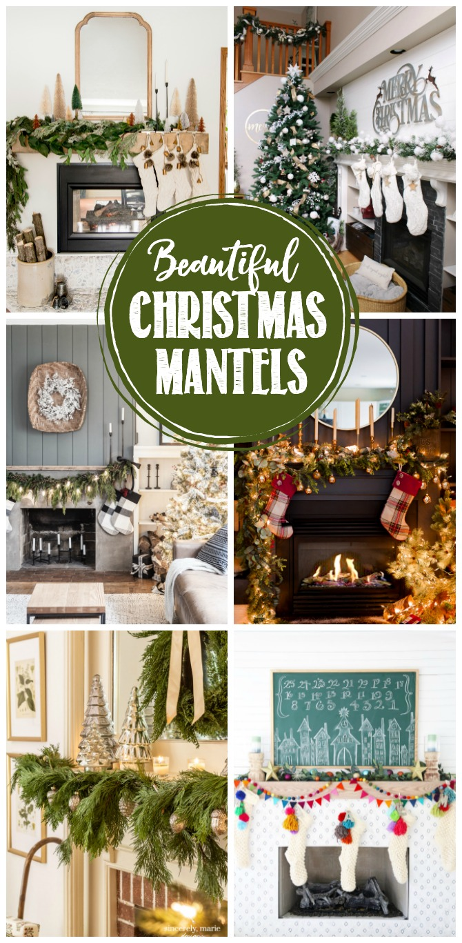 Beautiful collection of Christmas mantel decor ideas.