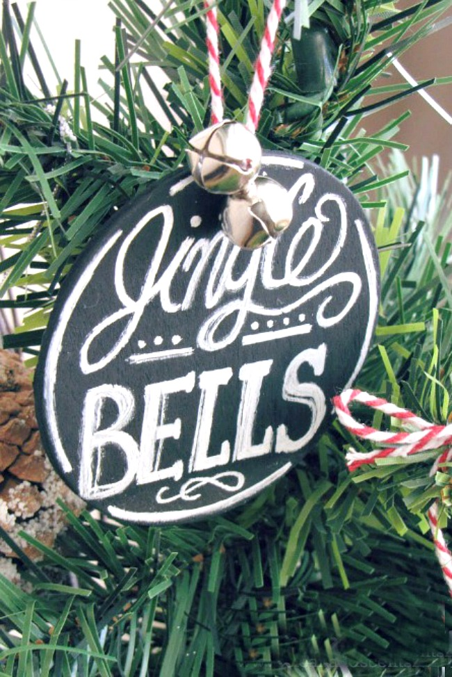 DIY Jingle Bells round chalkboard Christmas tree ornament.