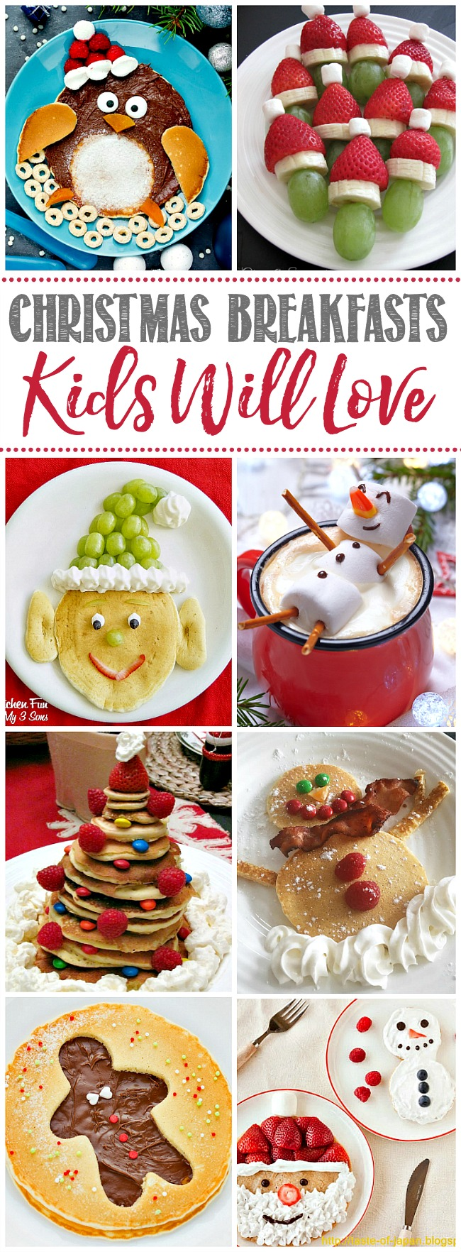 Collage of fun Christmas breakfast ideas for kids.
