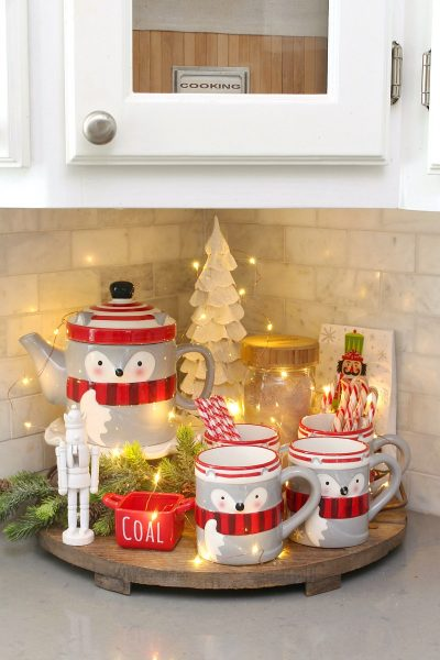 Simple Christmas hot chocolate bar with twinkle lights.