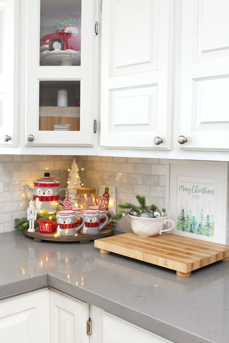 Simple Christmas hot chocolate bar in a white kitchen.