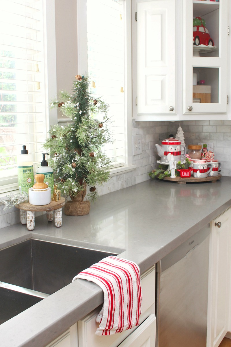 Kitchen counters decorated for Christmas.