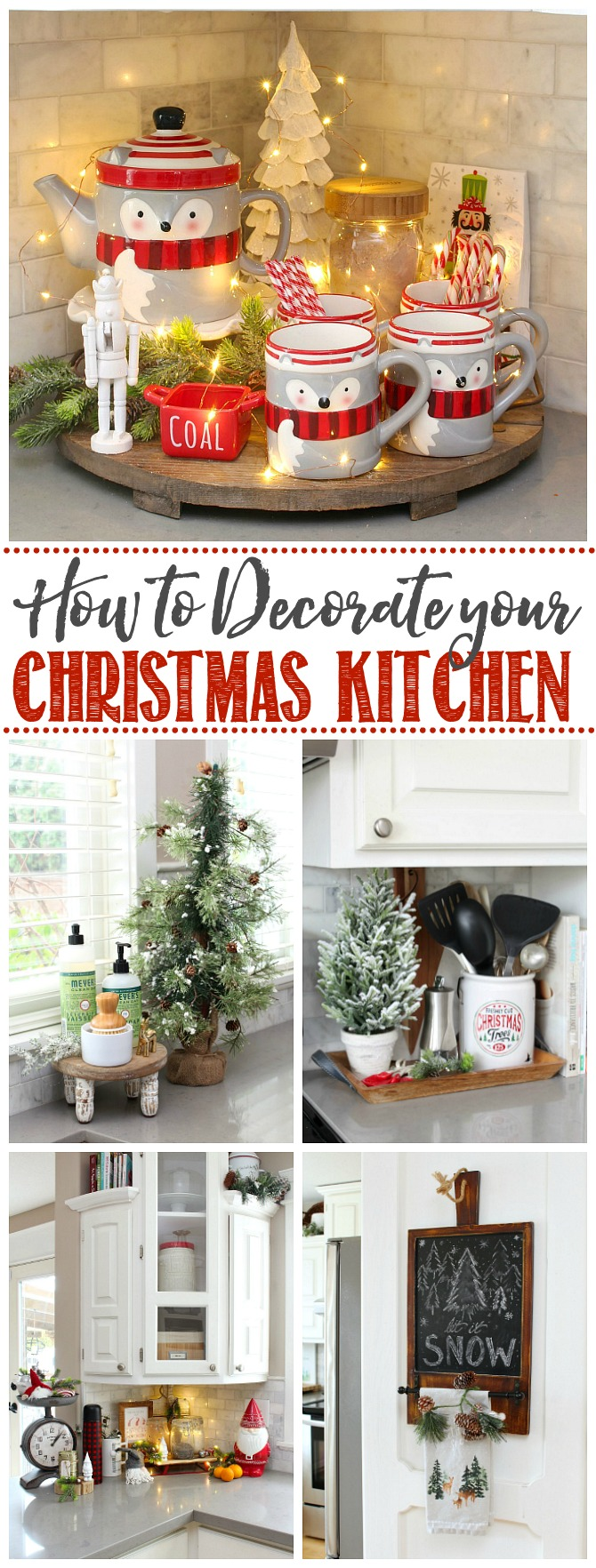 Collate of simple kitchen Christmas decor ideas.