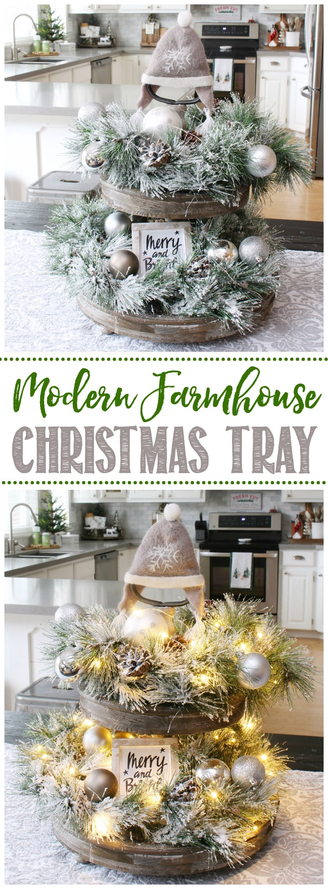 DIY farmhouse Christmas tray using flocked greenery and twinkle lights.