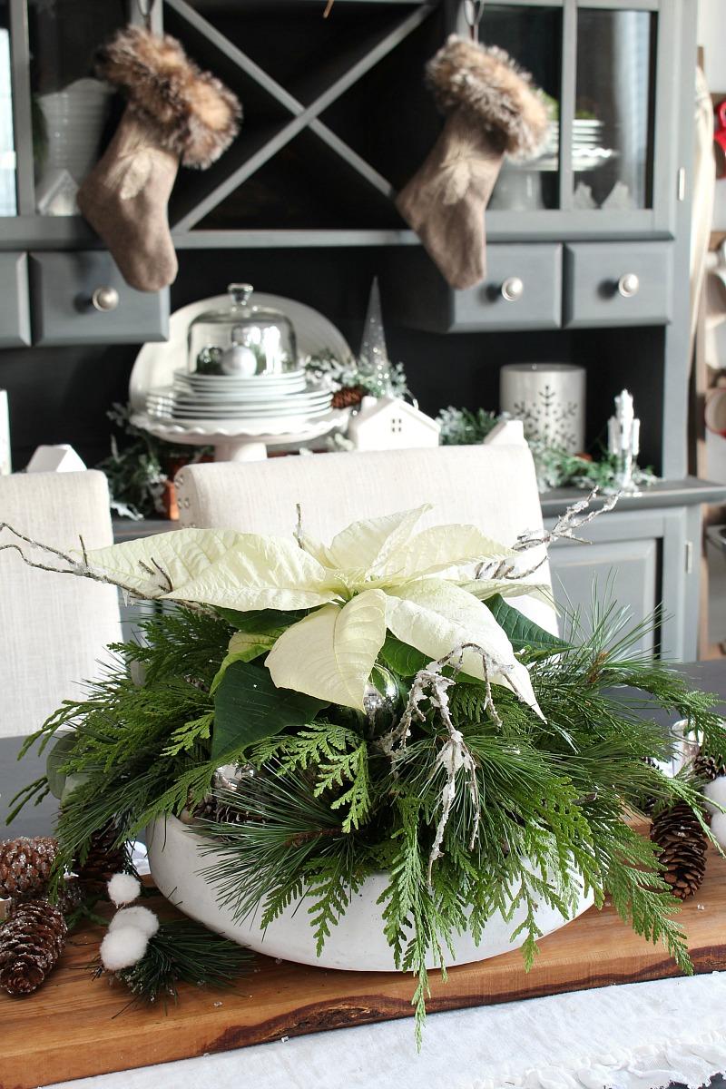 Beautiful poinsettia DIY Christmas centerpiece.