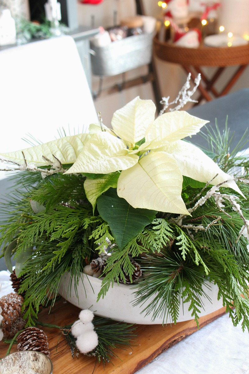 Beautiful poinsettia DIY Christmas centerpiece.
