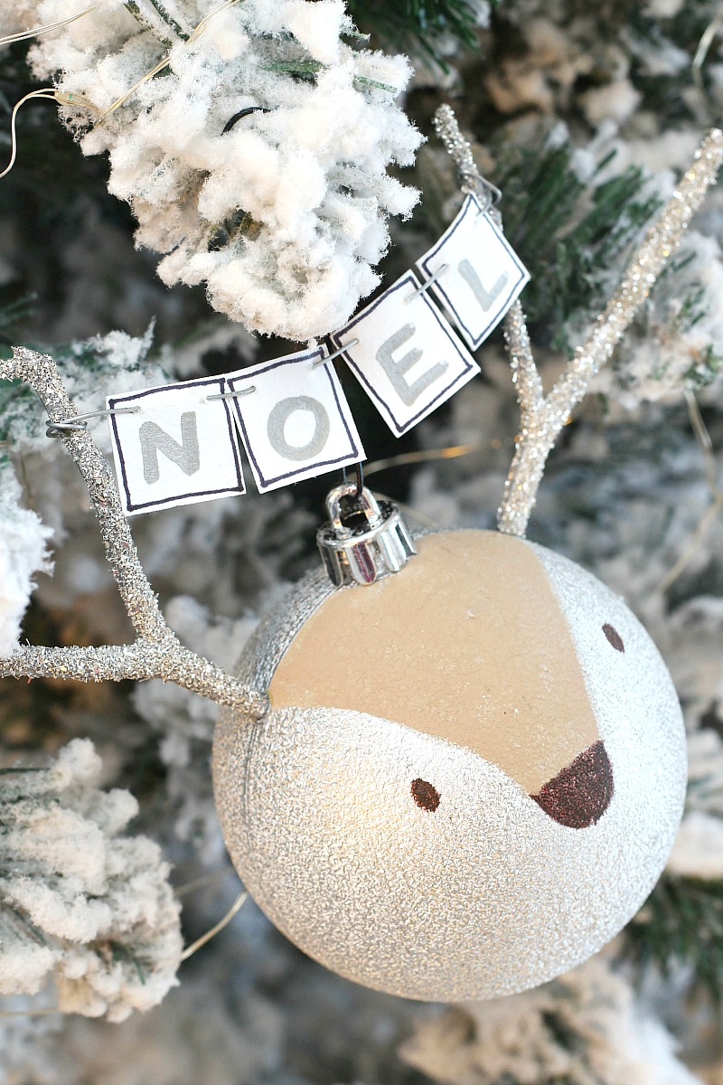 Handmade reindeer Christmas tree ornament.