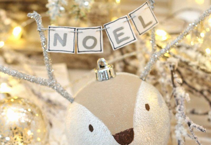 Cute DIY Reindeer Christmas Ornament with NOEL banner.