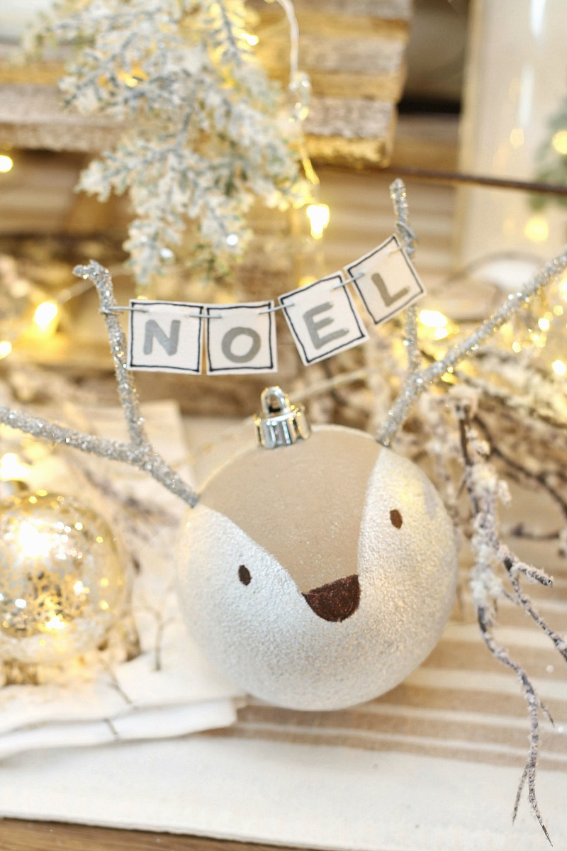 Cute reindeer handmade Christmas ornaments with NOEL banner.