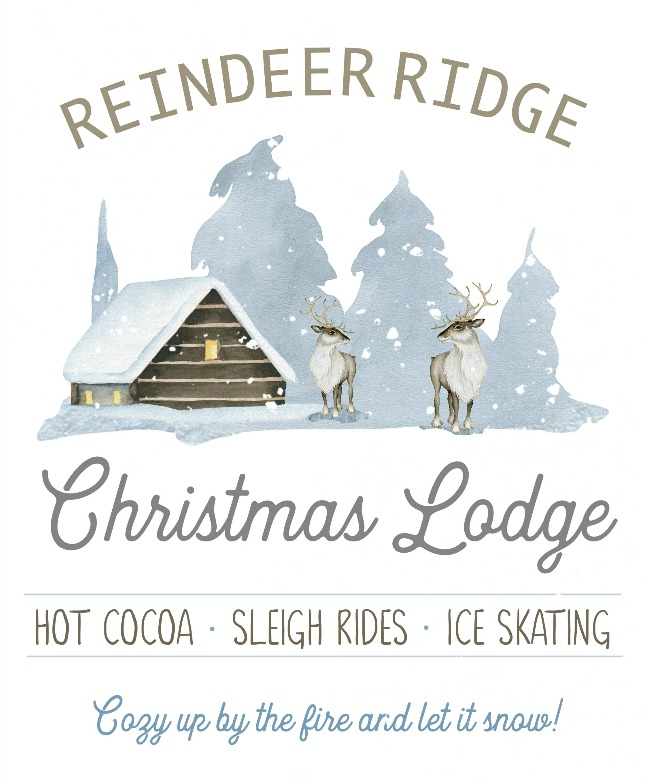 Reindeer Lodge Christmas Lodge free Christmas printable.