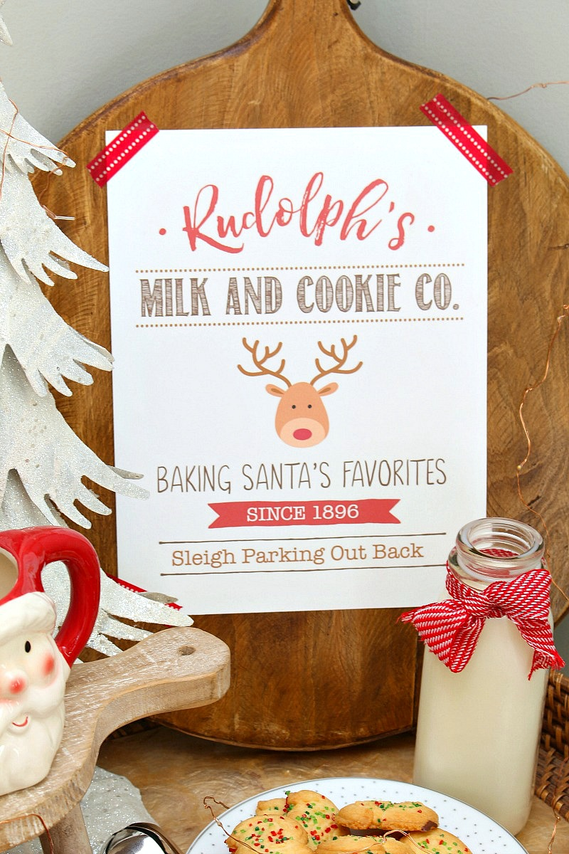 Adorable milk and cookie bar with free Rudolph's Milk and Cookie Co. free Christmas printable.