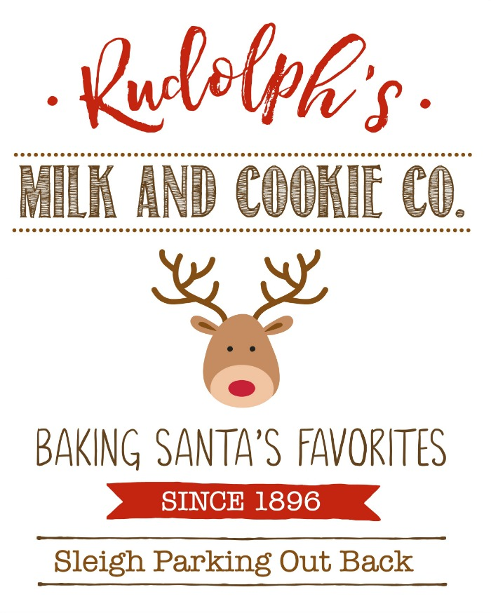 Rudolph's Milk and Cookie Co. free Christmas printable.