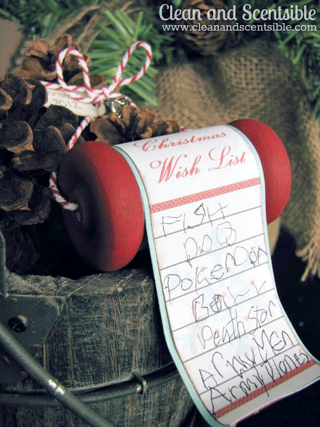 Christmas wish list handmade ornament with free printable.