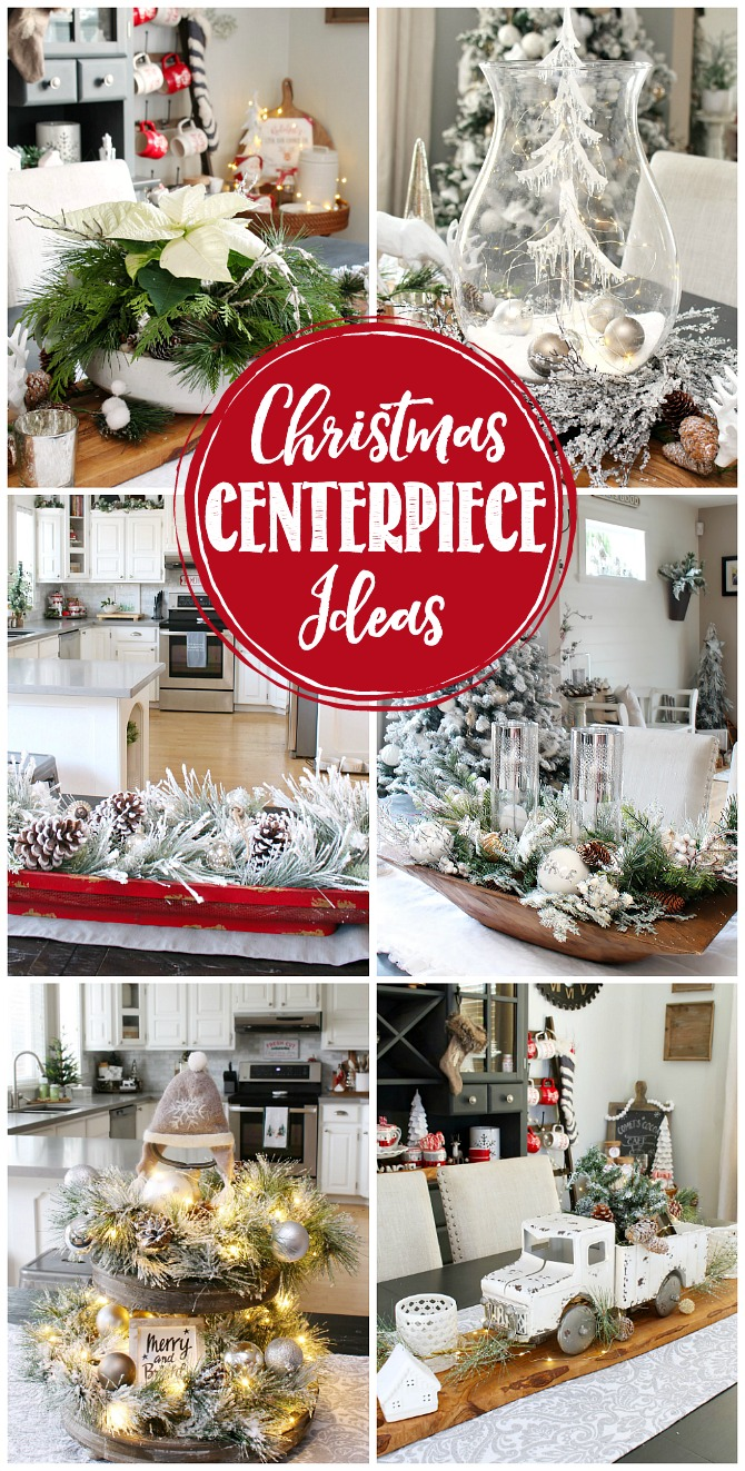 Collage of beautiful Christmas centerpiece ideas.