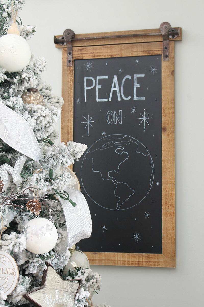 Friede auf Erden Weihnachten Chalkbaord Kunst.