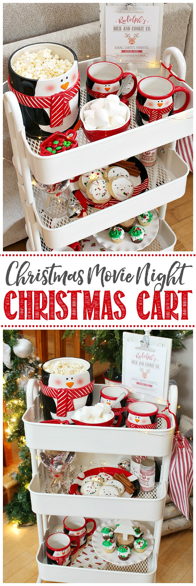 Christmas movie night rolling cart filled with Christmas goodies.