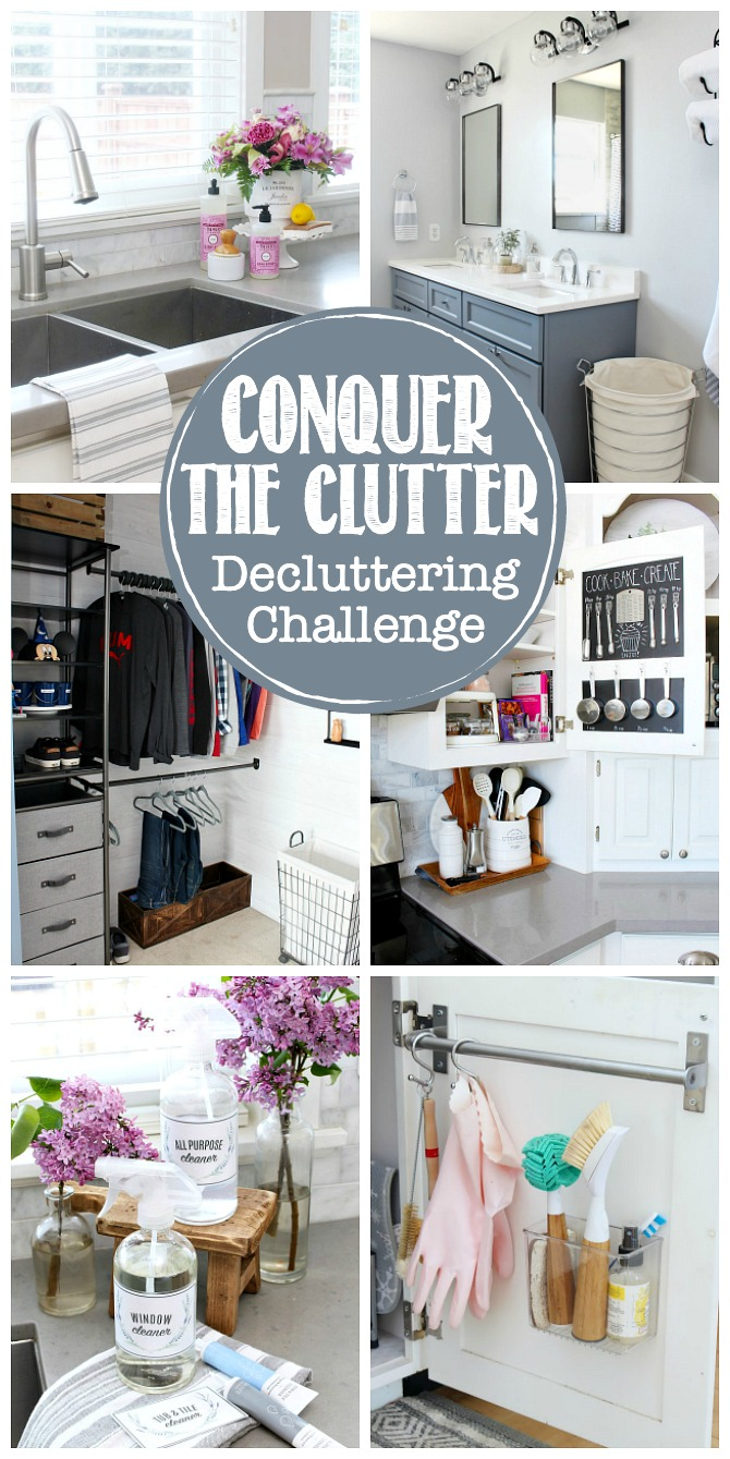 Conquer the Clutter Decluttering Challenge with organized spaces.