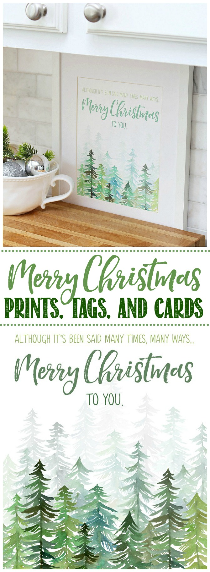Merry Christmas To You free printable displayed in a frame.