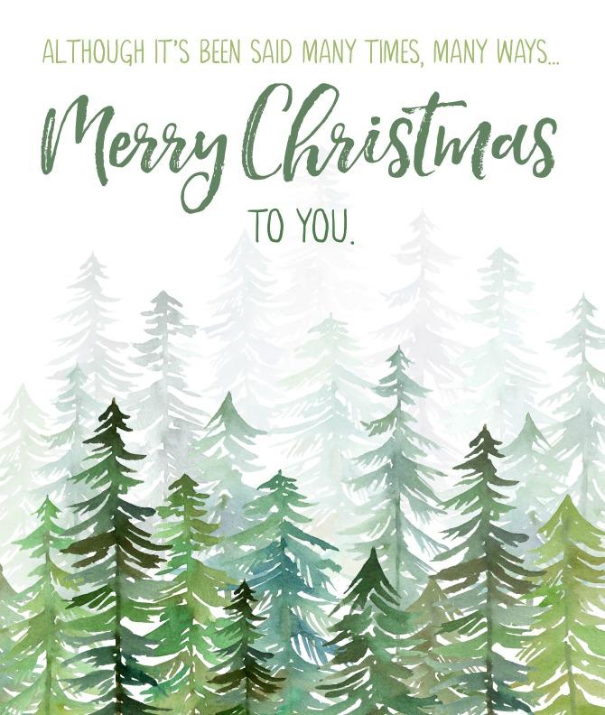 Merry Christmas To You free Christmas printable - print, tags, or Christmas card versions.