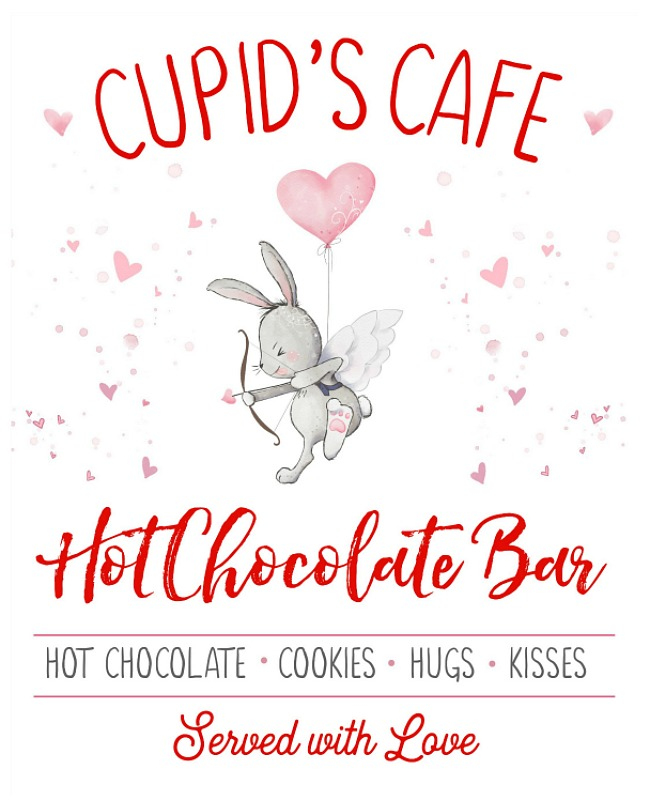 Cupid's Cafe free Valentine's Day printable.