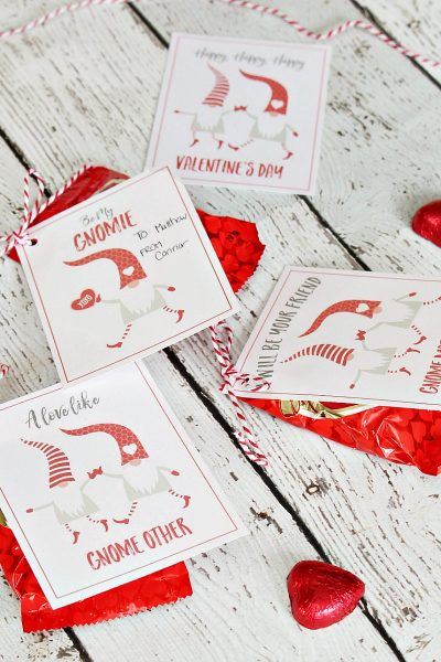 Valentine's Day gnome tags for Valentine's Day treats.