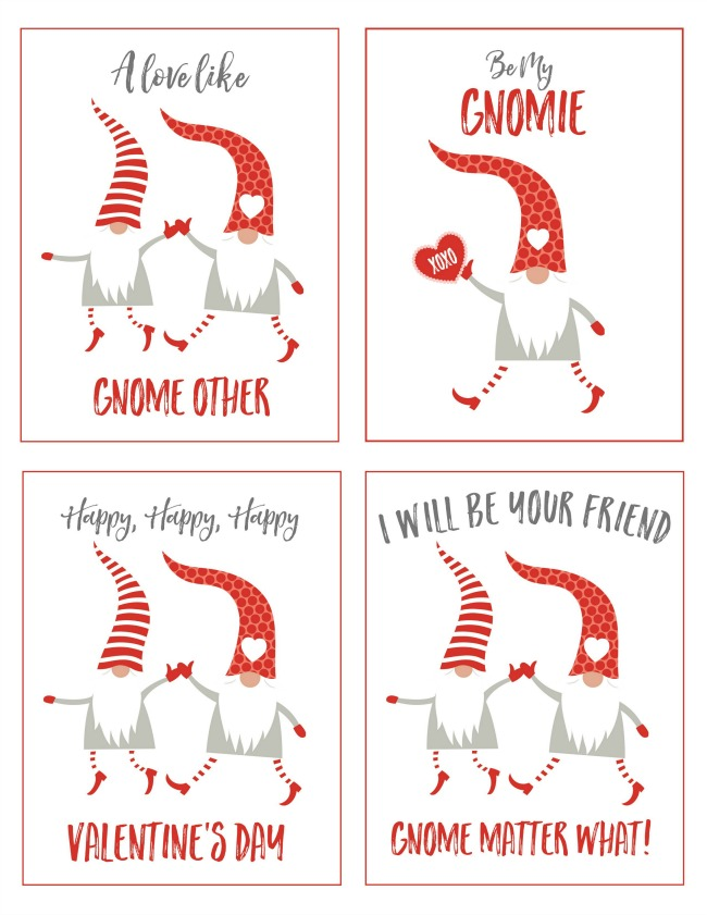 Valentine's Day gnomes tags and printables.