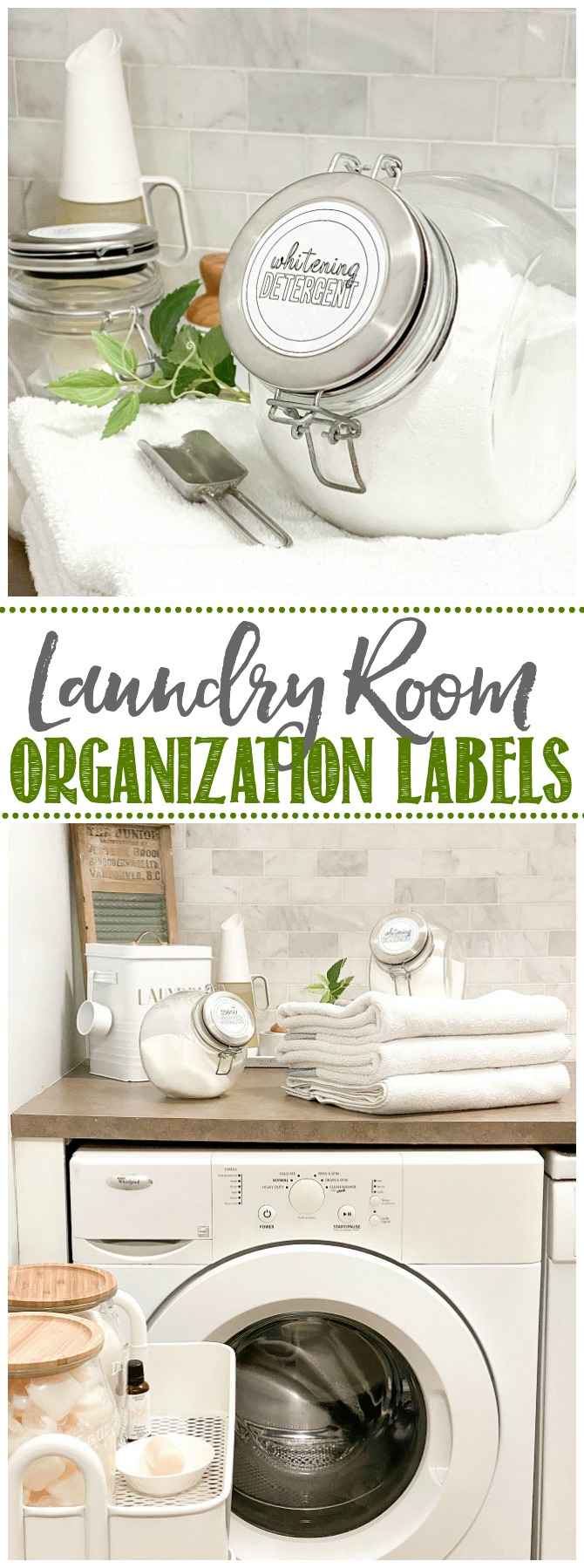 Glass laundry containers with DIY laundry labels.