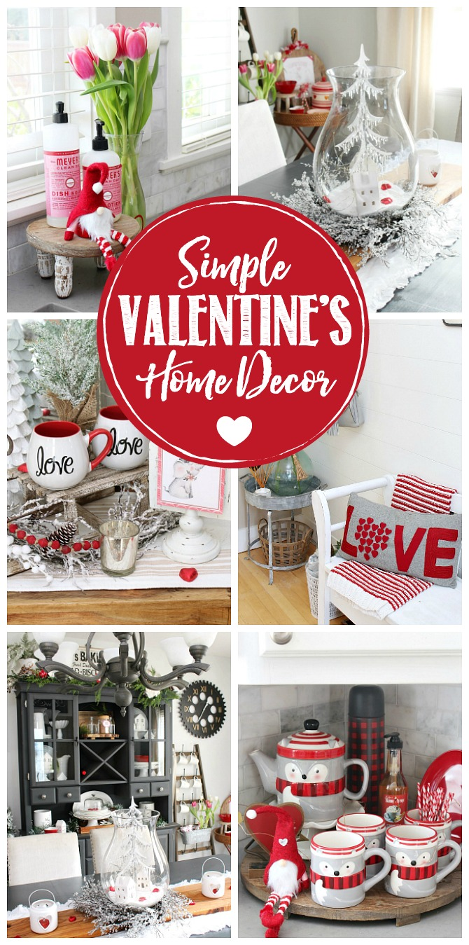 Collage of beautiful, simple Valentine's Day decor ideas.