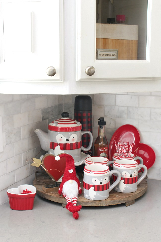 Valentine's Day beverage bar with fox tea set.