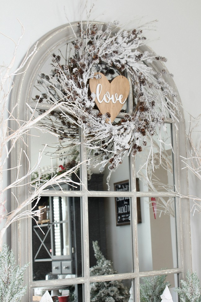 Winter wreath with Valentine's Day Love sign.