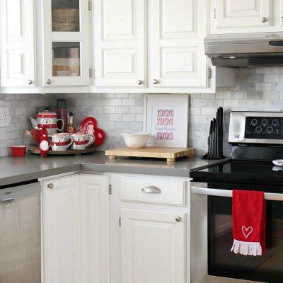 White kitchen with Valentine's Day home decor ideas.
