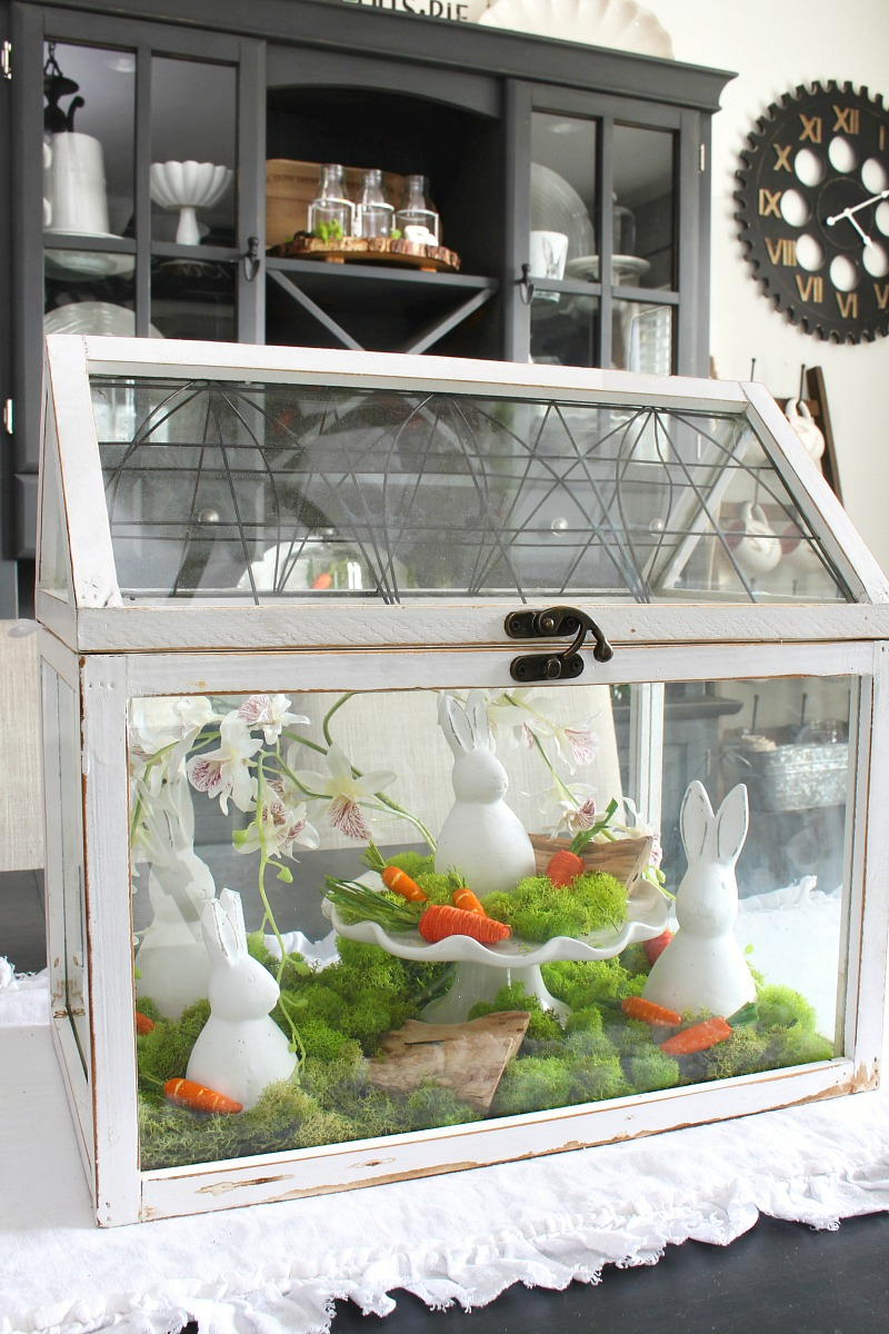 White Easter terrarium with white bunnies.