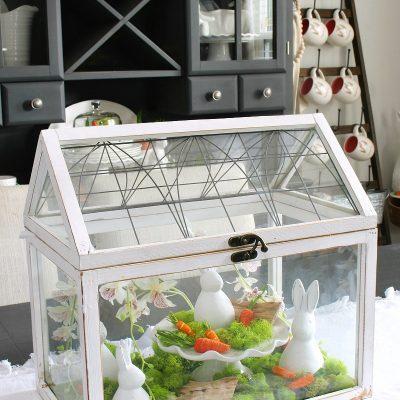 White Easter terrarium with white bunnies.
