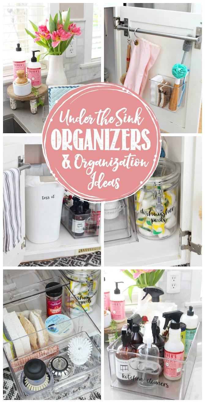 Collage of under the kitchen sink organizers and organization ideas.