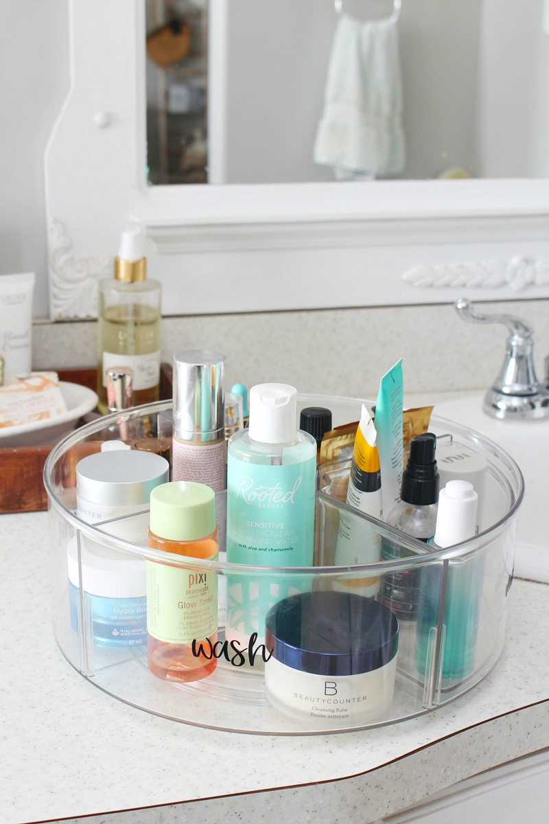 Divided lazy susan to store beauty products.