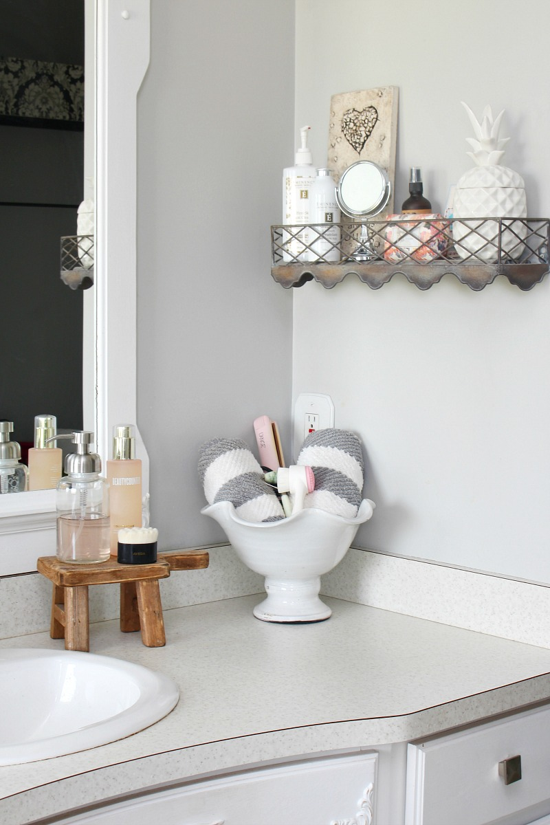 Organized bathroom counters.