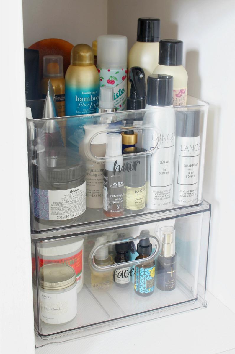 Acrylic bathroom cabinet organizer.